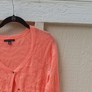 Neon Orange American Eagle Cardigan